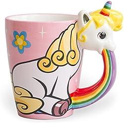 el & groove Einhorn-Tasse groß bunt in 3D | Kaffee-Tasse 350ml (400ml randvoll) | Tee-Tasse Einhorn aus Porzellan in Rosa, Weiß und Regenbogenfarben | Comic | Unicorn | Sterne | Geschenkidee