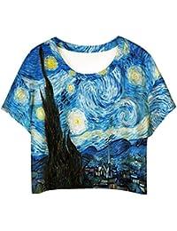Jiayiqi Bonita Mujer Manga Corta Escote Redondo T Camiseta Casual Impresión Gráfica