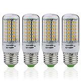 Auralum® 4er 8W E27 500LM Warmweiß LED Mais Licht Ersatzlampe für Tischlampe Kronleuchter Leuchtmittel & Birne(8W 69LED) 2 Jahre Garantie