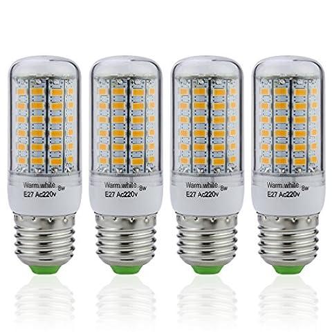 4 Pièces dans un Lot Auralum® 8W Lumière de Maïs LED E27 Lampe Spot Mais Éclairage Intérieur 500LM 5730*69LED Blanc Chaud 2800-3200K Spot de Haute Luminosité Basse Consommation