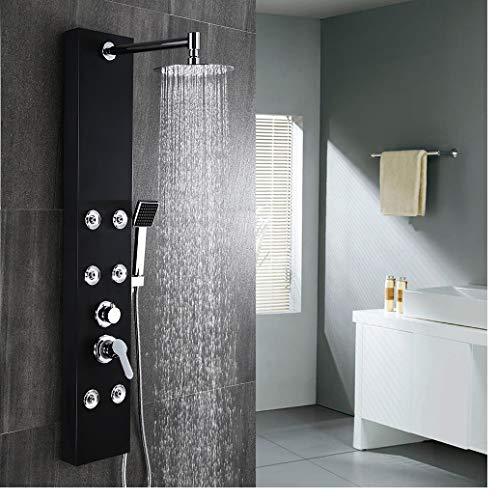 DesignerDuscheausEdelstahlmit Thermostat von Aralum |DuschpaneelDuschsystemDuscharmaturRegendusche|Duschsetmit Massagedüsen