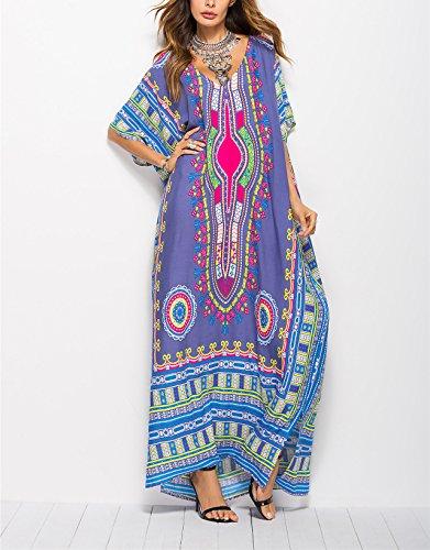 Gudelaa Frauen weichen afrikanischen Print Kleid Robe vertuschen ethnischen Stil Strand Kleid Rock Dashiki Print Kaftan Badeanzug Maxikleid blau