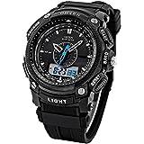 Handlife Men Boy Digital LED Alarm Dual Display Military Waterproof Rubber Watch