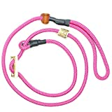 KENSONS for dogs RETRIEVERLEINE | Hundeleine 'Sporty', PINK-ROSA, 8 mm dick, mit Zugstopp aus Hirschhorn | Halsband und Leine in Einem | Hundeführleine | Führleine | Moxon-Leine | Field Trial