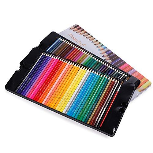 Magicfly – Matite colorate acquerellabili, 72 colori, matite per artisti, matite da disegno con 2 Pennelli