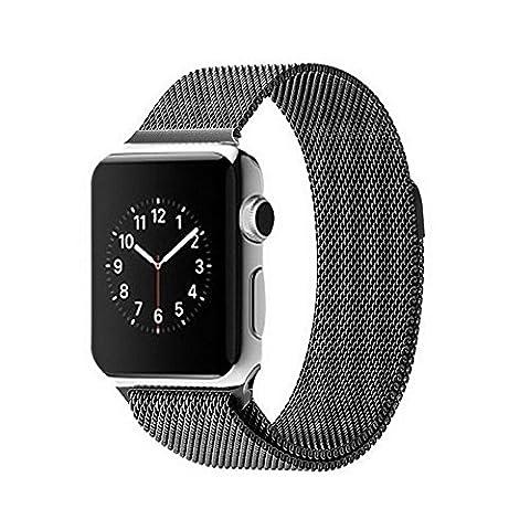 Trop Saint® Bracelet Maillage en acier inoxydable pour Apple Watch (42mm) avec Fermoir Magnétique réglable - Couleur Noir - iWatch Wristband Strap