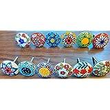 12x Mix Vintage Look flores pomos de cerámica tirador para puerta armario cajón armario tire