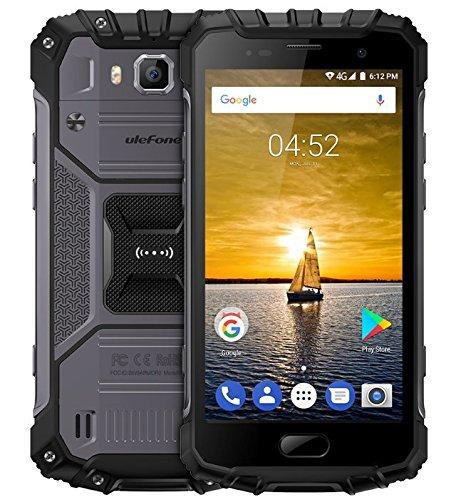 Ulefone Armor 2 - 5.0 pulgadas FHD IP68 Impermeabilice 4G Android 7.0 Smartphone, Helio P25 Octa Núcleo 2.6GHz 6GB RAM 64GB ROM, cámara de 13MP + 16MP NFC GPS 4700mAh batería CARGA RÁPIDA - Negro