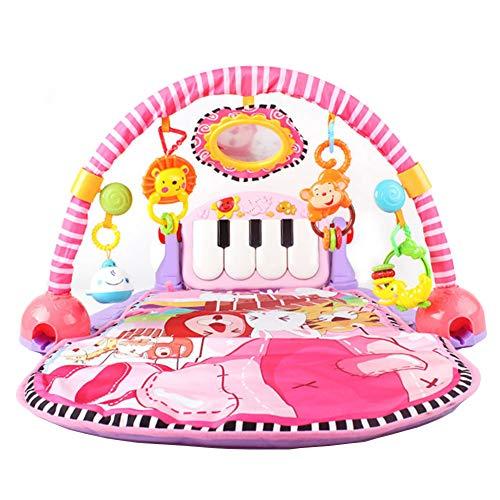 Baby Fuß Klavier Puzzle Spielzeug Baby Multi-Funktions-Musik-Fitness-Rahmen Lernspielzeug, Lügen zu spielen, Sit And Play, Aktivität Spielzeug, Baby Game Pad Activity Gym (pink) (Spiel-raum-sound-system)