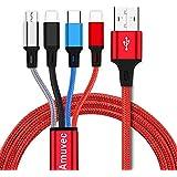 Amuvec 4 en 1 Multi Cable de Carga, Nylon Multi USB Cargador Cable Múltiples Carga Rápida con Micro USB Tipo C 2 IP Conectore