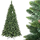 FairyTrees artificiale Albero di Natale PINO, verde naturale, materiale PVC, vere pigne, incl. supporto in metallo, 250cm, FT03-250