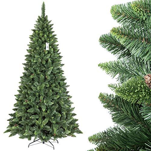 Fairytrees artificiale albero di natale pino, verde naturale, materiale pvc, vere pigne, incl. supporto in metallo, 250cm, ft03-250