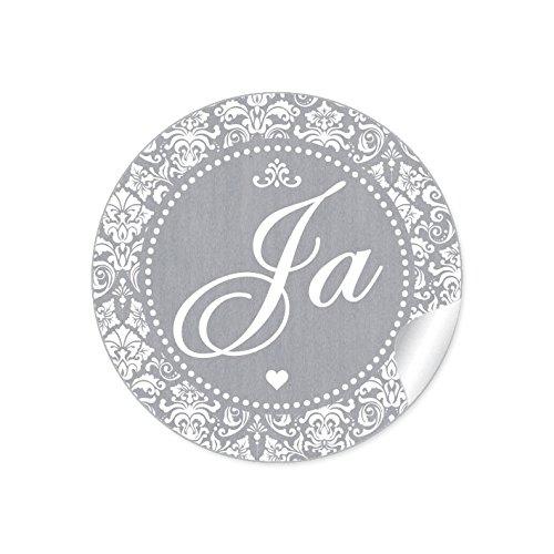 """24 STICKER: Romantische Hochzeitsaufkleber\""""JA\"""" im\""""Shabby Chic gestreiften Packpapier Retro Look\"""" mit Herz und Ornamente (4 cm, rund, matt) Für Gastgeschenke oder Tischdeko zur Hochzeit in Grau"""