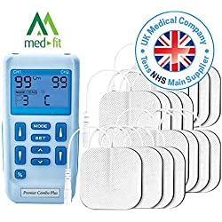 Premier TENS Machine by Med-Fit, Fully Rechargeable Dual Channel Tens and Muscle Stimulator with 24 Pre-Set Programs for TENS Pain Relief, Muscle Strengthening, Massage and Relaxation