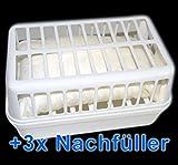 Raumentfeuchter Set: 1 Gerät + 3 x Nachfüllpack à 1,2kg Feuchtigkeitskiller Luftentfeuchter - verhindert Feuchtigkeit in Räumen, Schimmel, Moder, üble Gerüche, Stockflecken