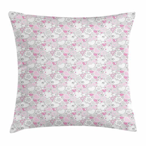 Grey Throw Pillow Cushion Cover, Patchwork Style Abstract Flowers Hearts Buttons Cute Kids Girls Design, Decorative Square Accent Pillow Case, 18 X 18 Inches, Pale Grey Pale Pink White Pink Miss Zebra