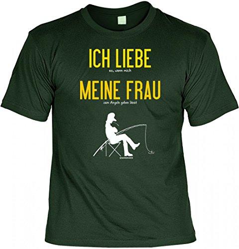 T-Shirt Funshirt - Ich liebe es wenn meine Frau mich angeln lässt - witziges Spruchshirt als Geschenk für den Angler Dunkelgrün