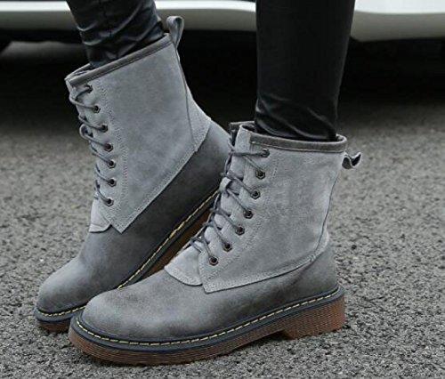 Autunno E Inverno Scarpe Da Donna Stivali Martin Donne Scarpe Con Stivali Inghilterra Testa Tonda Pizzo Scarponi Singoli Gray