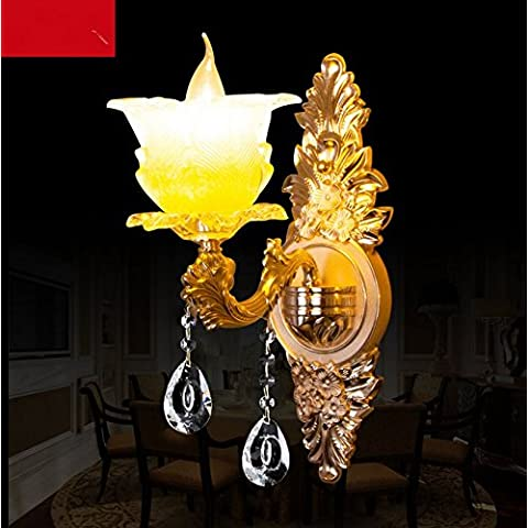 Europea-doppia parete lampada lampada da comodino camera da letto soggiorno illuminazione Studio Villa bar Applique in cristallo,Monotesta