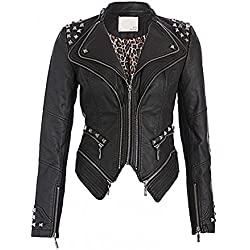 Chaqueta de motorista de piel sintética, ajustada, roquera, de estilo punk, con remaches, en color negro Negro negro 44