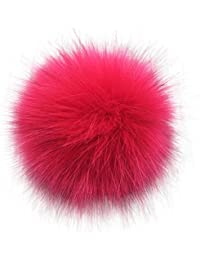16cm , Rose Red : Soft PomPom DIY Car Handbag Keychain Fluffy Ball Pendant (16cm, Rose Red)