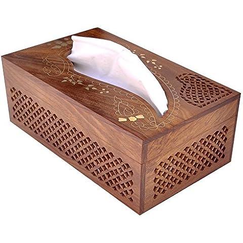 Regalo per Natale o compleanno ai vostri cari Rettangolare di legno Boutique Tissue Box Dispenser Coprire con Brass Decorative Inlay- Artisan-Messo elegante legno Kleenex Tissue Box Holder