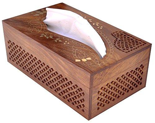 Geschenk für Weihnachten oder Geburtstag an Ihre Lieben Rechteckige Holz Boutique Tissue Box Cover Dispenser mit Dekorative Messing Inlay- Handfertigung eleganten Holz Kleenex Tissue Box Halter