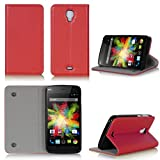 Wiko Bloom Tasche Leder Hülle rot Cover mit Stand -