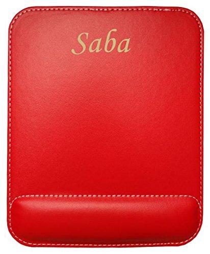 Preisvergleich Produktbild Kundenspezifischer gravierter Mauspad aus Kunstleder mit Namen Saba (Vorname / Zuname / Spitzname)