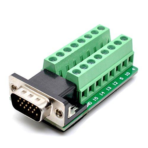 DB15Sub D Buchse Fesselnde VGA3+ 915Pins Port auf 2Reihen Terminal Breakout Board Male-Riveting -