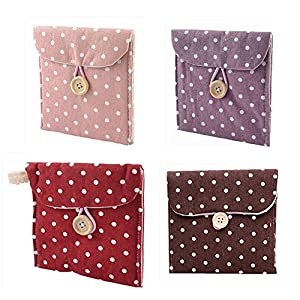 EQLEF® 4 PCS Sanitary Napkins Bags With Dots Suitable For Store Sanitary Napkins Girls' favorite