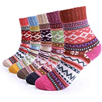 5 Pairs Women Winter Knitting Thicken Warm Cotton Socks Thermal Socks Assorted Patterns UK 4.5-7.5 EU 35-40