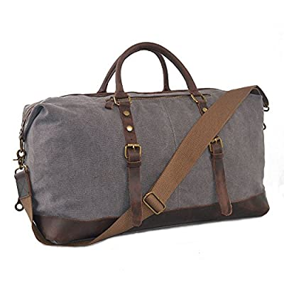 YANGYANJING (Big Size: 54 x 23 x 42CM) 55L Mens Canvas Leather Holdall Travel Duffle Overnight Weekend Satchel Totes Bag Handbags