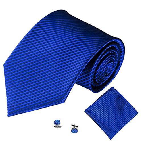 Krawatten Taschentuch Manschettenknopf 3PCS SOMESUN Klassische Jacquard Mann Party Krawatte (5cm Breit, #7)
