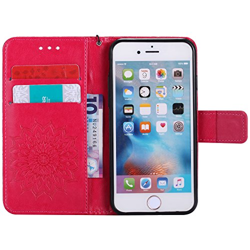 Camiter rouge Tournesol 3D en Relief Motif Leather Case Wallet Flip Protective Cover Etui [PU Cuir et TPU Silicone Inner Case] Portefeuille Coque Housse Case Cover Coquille Couverture avec Fonction St rouge