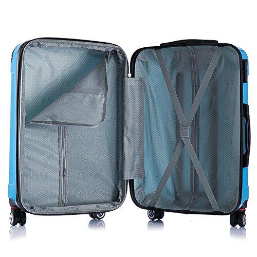 WOLTU RK4212bl, Reise Koffer Trolley Hartschale Volumen erweiterbar, Reisekoffer Hartschalenkoffer 4 Rollen, M/L/XL/Set, leicht und günstig, Blau 3er Set (M+L+XL) - 5