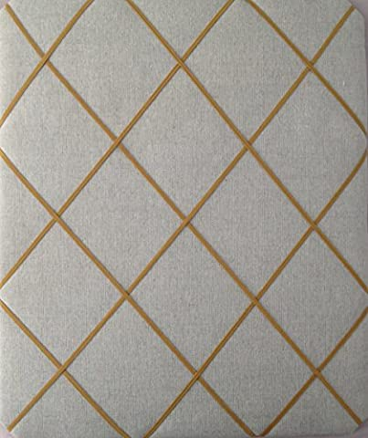 Notice Boards/Memo Boards/Large 40x48cm, Laura Ashley Oatmeal Linen,Gold Elasticated Trim, Bulletin Boards, Message