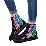 OSYARD Damen Schnürstiefelett Kurze Booties Stiefeletten Vintage Frauen Freizeit Bestickte Shoes Flache Schuhe Dicken Boden Stiefel Wildleder Boots(245/40, Schwarz)