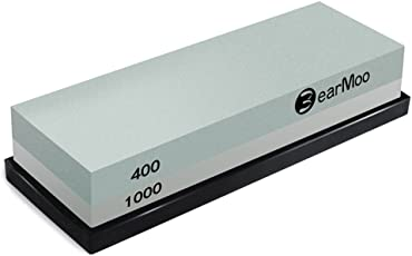 Wetzstein, BearMoo 2-IN-1 Schleifstein Abziehstein für Messer, Körnung 400/1000 mit rutschfestem Silikonhalter