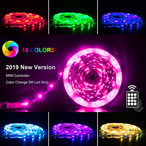 LED Strips Lights 5m [Newest 2019], RGB 5050 LEDs Colour Changing Kit on