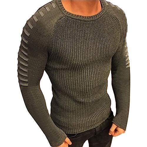 SuperSU Herren Herbst Winter Hemd Einfarbig Slim Beiläufige Herbst Winter Langarmhemd T-Shirt Oberteil Männlich Sweatshirt Pullover Pulli mit Rundhalsausschnitt Men Blouse Sweatshirt Sweat