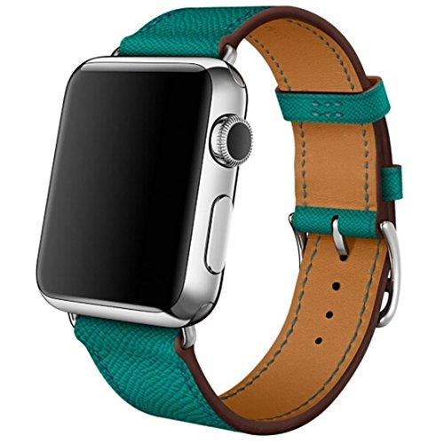 Cinturino Apple Watch Series 1 Series 2,Gosuper® Luxury Genuine Leather Smart Watch Band Strap Single Tour fascia del cuoio genuino bracciale per Apple Osservare 2015 e 2016 tutti i modelli