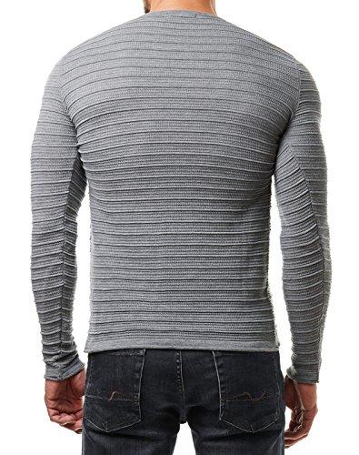 EightyFive Herren Pullover Feinstrick Gerippt Streifen Weiß Blau Grau Schwarz EF1724 Grau