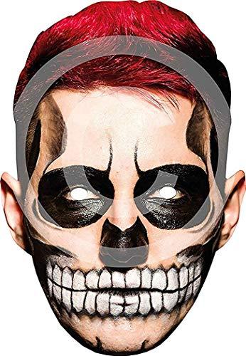 wachsene Halloween Festival Party Tag der Toten Karte Maske Einheitsgröße - Rot Haar, One Size ()