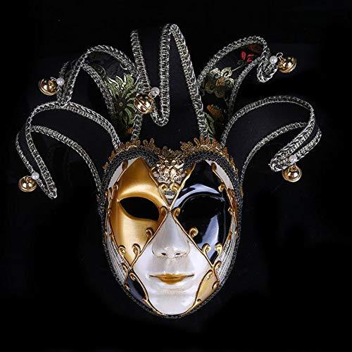 BHXUD Bemalte Halloween-Party-Party Maske Gehobene Venedig Damen Show Maske,Black