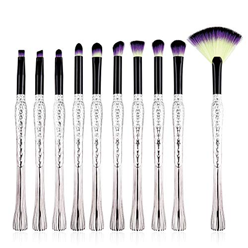 Cdet 10Pcs Kit De Pinceau Maquillage avec Manche en plastique Make Up Brush Ensemble Fondation Mélange Blush Yeux Visage Poudre Brosse Cosmétiques Argent