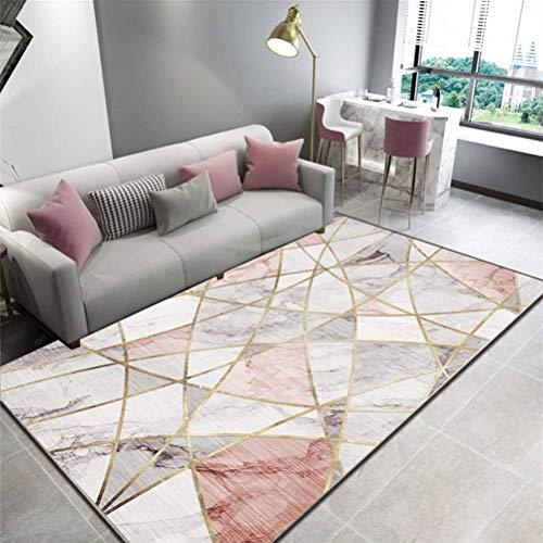 YXNN Bedruckter Bereich Teppich - Samt Moderne Geometrische Muster Wohnzimmer Fußmatte Rechteckige Couchtisch Decke Flur Küche Wohnkultur (Farbe : Rosa, größe : 120x160cm) -