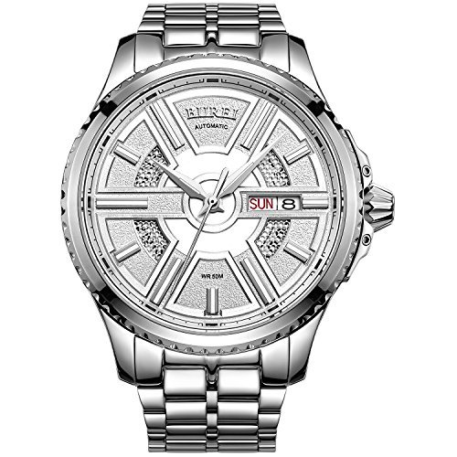 Burei Herren Tag und Datum Edelstahl Automatik Uhr mit Silber Band