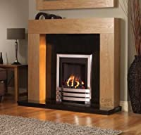 "Gas Oak Surround Black Granite Chrome Silver Coal Flame Fire Modern Fireplace Suite - 48"" - UK Mainland Only"