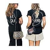 Best Friends Sister T-Shirt mit Aufdruck Halb-Herz Für Zwei Damen Mädchen Sommer Weiß Schwarz Oberteil Geburtstagsgeschenk 1 Stücke (XS, Schwarz ST)